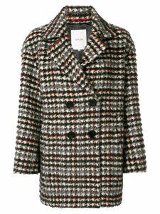 Loveless double-breasted checkered coat - Grey