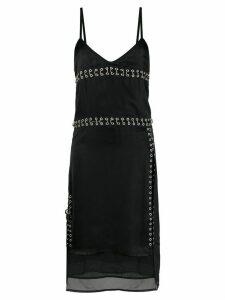 Diesel pierced satin slip dress - Black