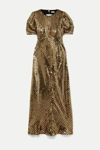 RIXO - Daisy Velvet-trimmed Cutout Sequined Georgette Midi Dress - Bronze