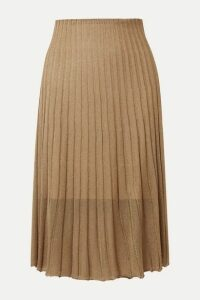 Vince - Pleated Metallic Crochet-knit Midi Skirt - Bronze