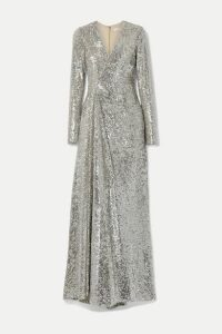 Reem Acra - Wrap-effect Sequined Tulle Gown - Silver