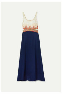 Chloé - Paneled Embroidered Tulle, Jacquard, Chiffon And Satin Midi Dress - Blue