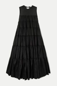 Cecilie Bahnsen - Ebba Tiered Faille Midi Dress - Black