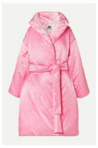 Balenciaga - Oversized Belted Padded Satin-shell Coat - Pink