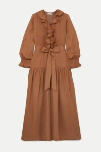 DÔEN - Marine Belted Ruffled Ramie Maxi Dress - Antique rose