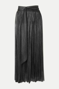 Elena Makri - Delfis Asymmetric Pleated Metallic Silk-tulle Midi Skirt - Silver