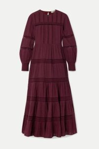 SEA - Pascale Crochet-trimmed Embroidered Cotton-voile Maxi Dress - Burgundy