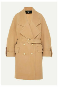 Balmain - Button-embellished Double-breasted Wool And Cashmere-blend Coat - Neutral