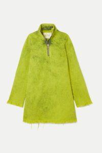 Marques' Almeida - Frayed Acid-wash Denim Mini Dress - Lime green