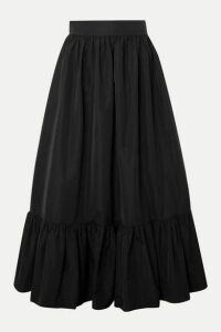 Valentino - Tiered Cotton-blend Poplin Midi Skirt - Black