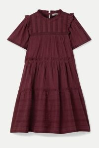 SEA - Pascale Ruffled Broderie Anglaise-trimmed Cotton-voile Mini Dress - Burgundy