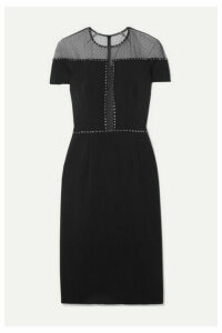 Jenny Packham - Dora Studded Swiss-dot Mesh And Stretch-crepe Dress - Black