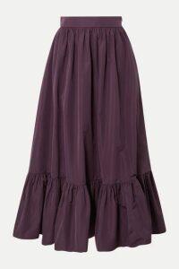 Valentino - Tiered Cotton-blend Poplin Midi Skirt - Purple