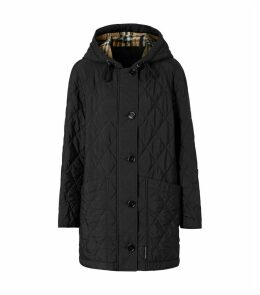 Diamond Quilted Hooded Coat