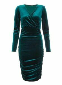 Womens *Quiz Green Velvet Midi Dress, Green