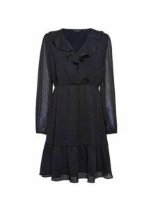 Womens Black Dobby Ruffle Fit And Flare Dress, Black
