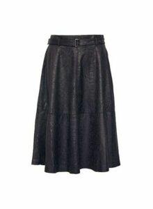 Womens **Vila Black Snake Print Midi Skirt, Black