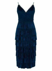 Womens **Little Mistress Navy Lace Pleated Midi Dress- Blue, Blue