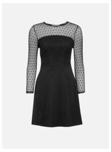 Womens Petite Black Polka Dot Print Dobby Mesh Fit And Flare Dress, Black