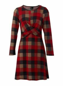 Womens *Izabel London Red Checked Print Knitted Dress, Red