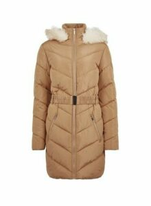 Womens **Tall Brown Long Padded Coat, Brown
