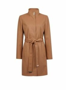 Womens Camel Funnel Wrap Belted Coat- Brown, Brown