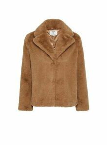 Womens Petite Brown Short Faux Fur Coat, Brown