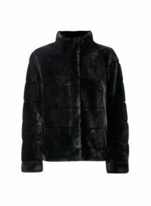 Womens Petite Black Faux Fur Coat, Black