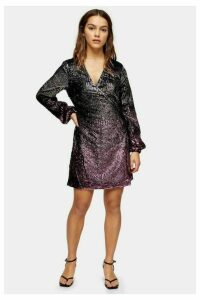 Womens Petite Ombre Sequin Wrap Dress - Pink, Pink