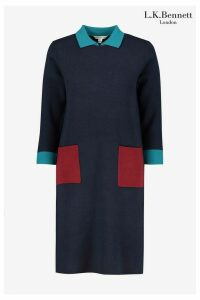 Womens L.K. Bennett Blue Melanie Colourblock Dress -  Blue