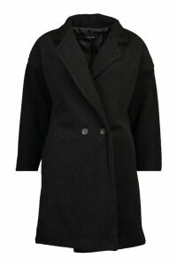 Womens Tall Brushed Wool Effect Button Front Coat - black - M, Black