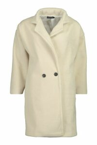 Womens Tall Brushed Wool Effect Button Front Coat - white - M, White