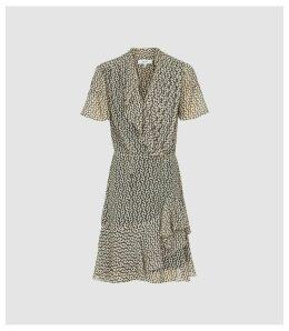 Reiss Paris - Printed Ruffle Trimmed Chiffon Dress in Black, Womens, Size 18
