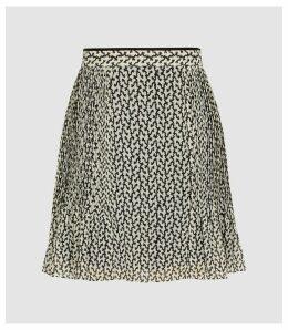 Reiss Ellie - Pin Tucked Printed Mini Skirt in Black & White, Womens, Size 16