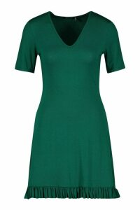 Womens V Neck Frill Hem Shift Dress - green - 14, Green