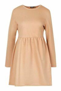 Womens Smock Sweatshirt Dress - beige - 16, Beige
