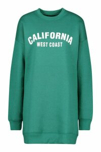 Womens California Slogan Rib Hem Sweatshirt Dress - green - 16, Green