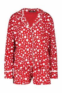 Womens Heart Print Jersey Button Through PJ Shorts Set - red - 16, Red