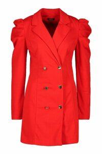 Womens Puff Sleeve Button Blazer Dress - red - 16, Red