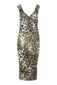 Womens Leopard Wrap Front Midi Dress - brown - 16, Brown