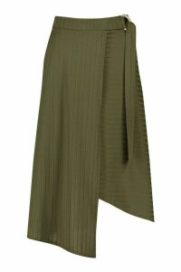 Womens Recycled Wide Rib Skirt With D Ring Tie - green - 14, Green