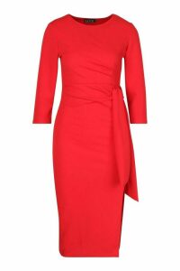 Womens Knot Detail Midi Dress - red - 14, Red