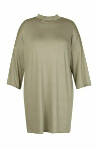 Womens Plus High Neck Kimono Sleeve T-Shirt Dress - green - 20, Green