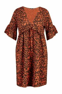 Womens Plus Leopard Ruffle Rib Smock Dress - brown - 20, Brown