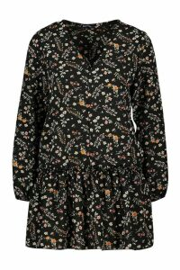 Womens Petite Ditsy Floral Woven Smock Dress - black - 14, Black