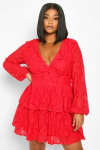 Womens Plus Lace Plunge Ruffle Skater Dress - red - 24, Red