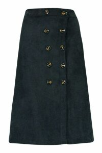 Womens Button Front Baby Cord Midi Skirt - black - 16, Black