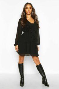 Womens Chiffon Ruffle Front Smock Dress - black - 18, Black