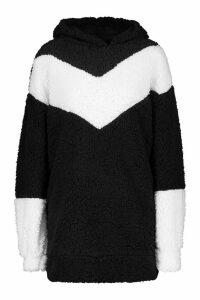 Womens Borg Chevron Hooded Sweatshirt Dress - black - 18, Black