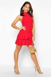 Womens Halterneck Double Ruffle Mini Dress - red - 14, Red